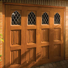 side hinged garage door with cathedral style windows