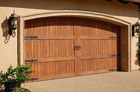 wooden side hinged garage door